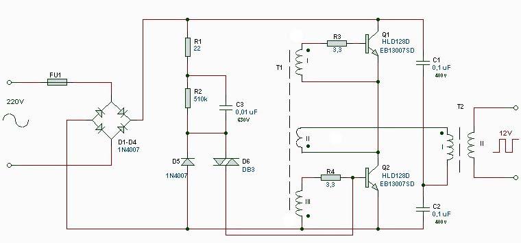 Импульсный трансформатор схема